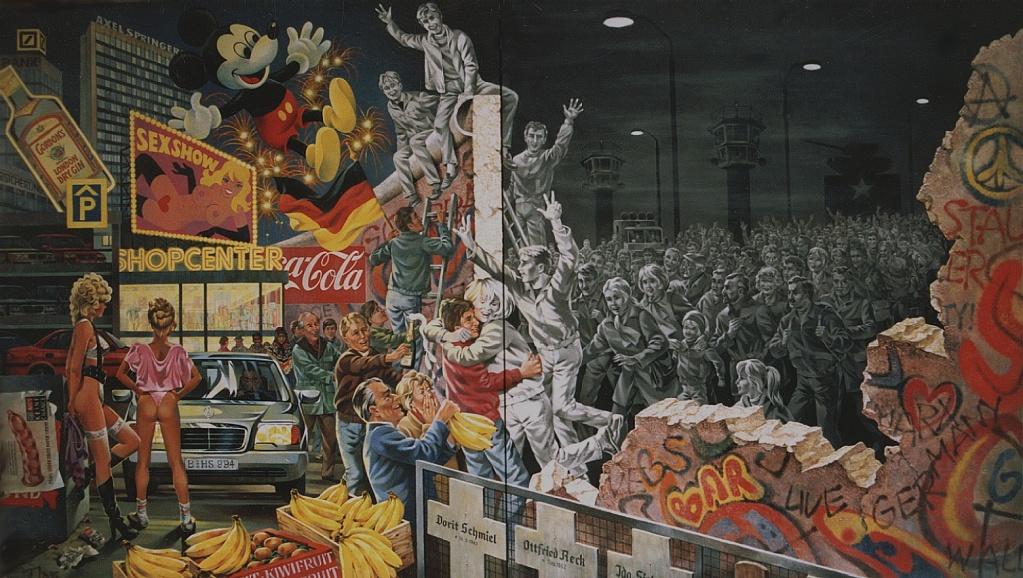 Карикатура на реакцию общества на падение берлинской стены