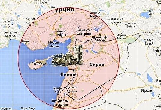 Зона-радиус действия С-400 в Сирии