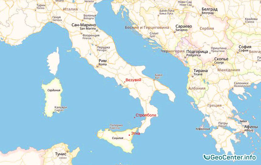 Расположение везувия на карте