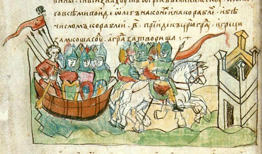 Картинки по запросу Поход князя Олега на Царьград 941 г. Миниатюра из Радзивилловской летописи
