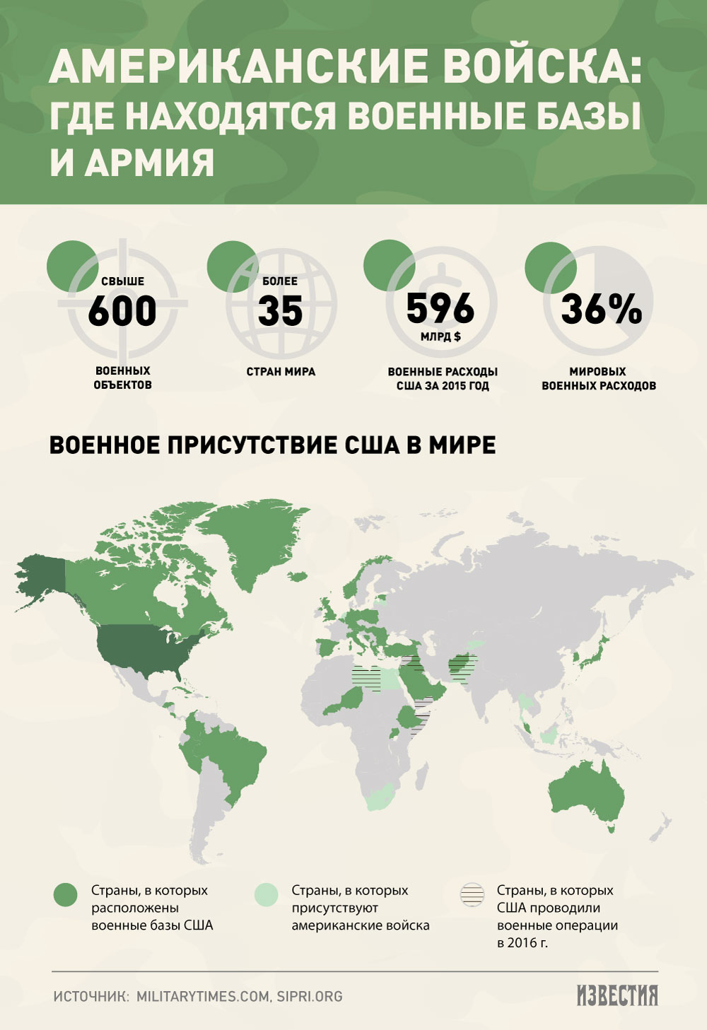Карта военного присутствия США в мире