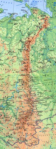 фото уральские горы на карте