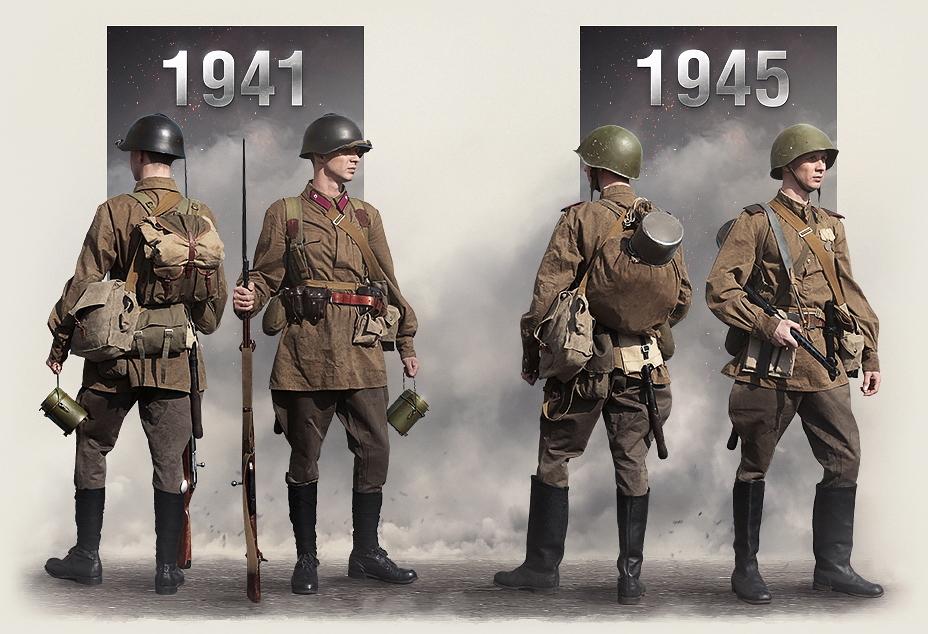 Два бойца: внешний вид красноармейца 1941 и 1945 годов