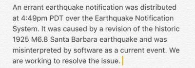 Предупреждение свыше? Странное ошибочное сообщение USGS системы о землетрясении в Калифорнии силой 6.8 баллов