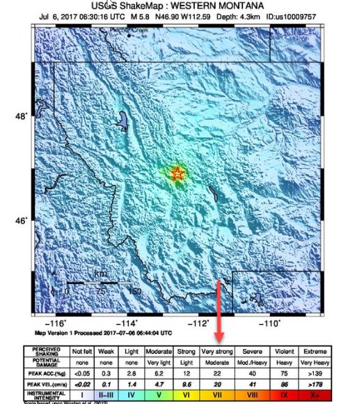 Землетрясение 5.8 баллов произошло в штате Монтана