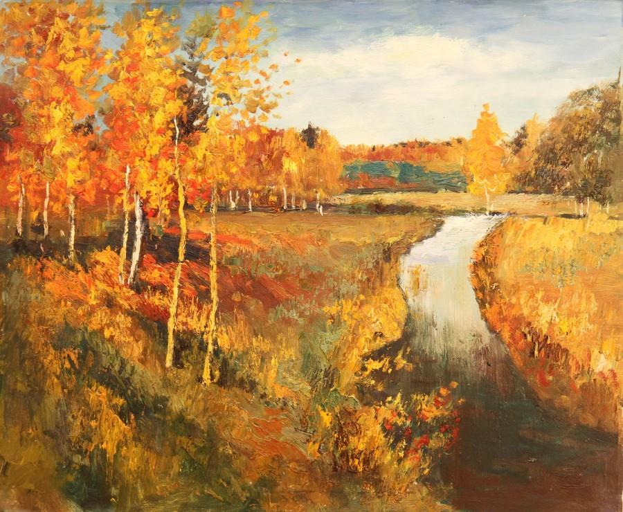 на картинке художник изобразил золотую осень них обладает