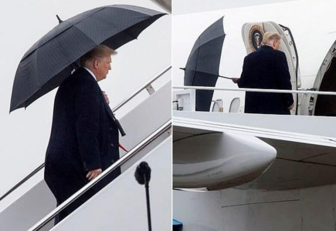 Это склероз, ребята: Трамп забыл, как закрывается зонт и бросил его