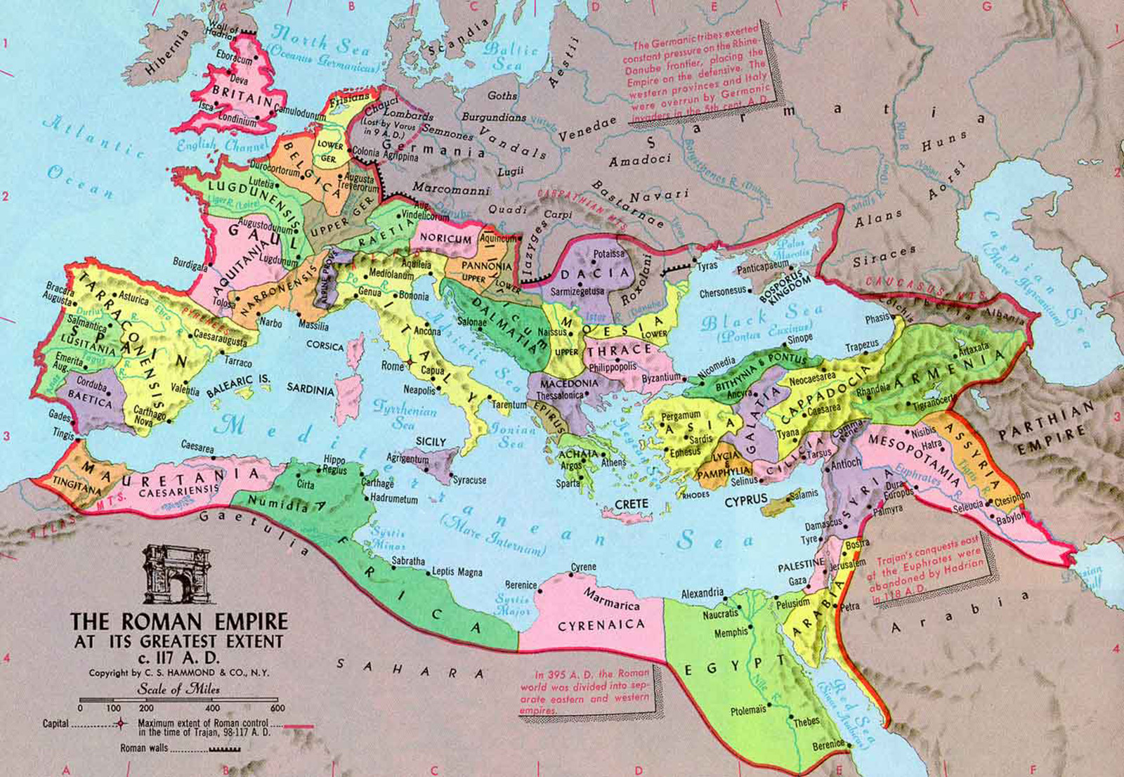 Карта Римской Империи 1-2 век н.э.