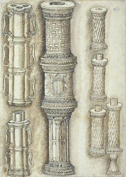 Пизанелло. Три артиллерийских орудия, середина 15 века. Лувр, Париж.