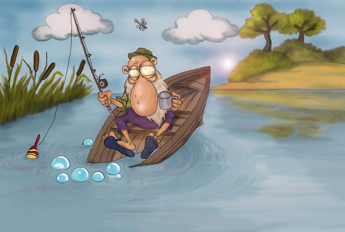 Картинки с рыбалкой прикольные нарисованные, днем