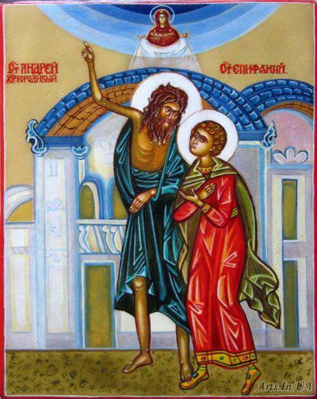 Икона покровы, в центре изображен святой блаженный Андрей и его ученик Епифаний