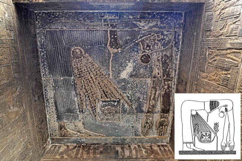 Древнеегипетская богиня неба в образе женщины, рождающей Солнце (Египет, Дендера, храме богини Хатхор)