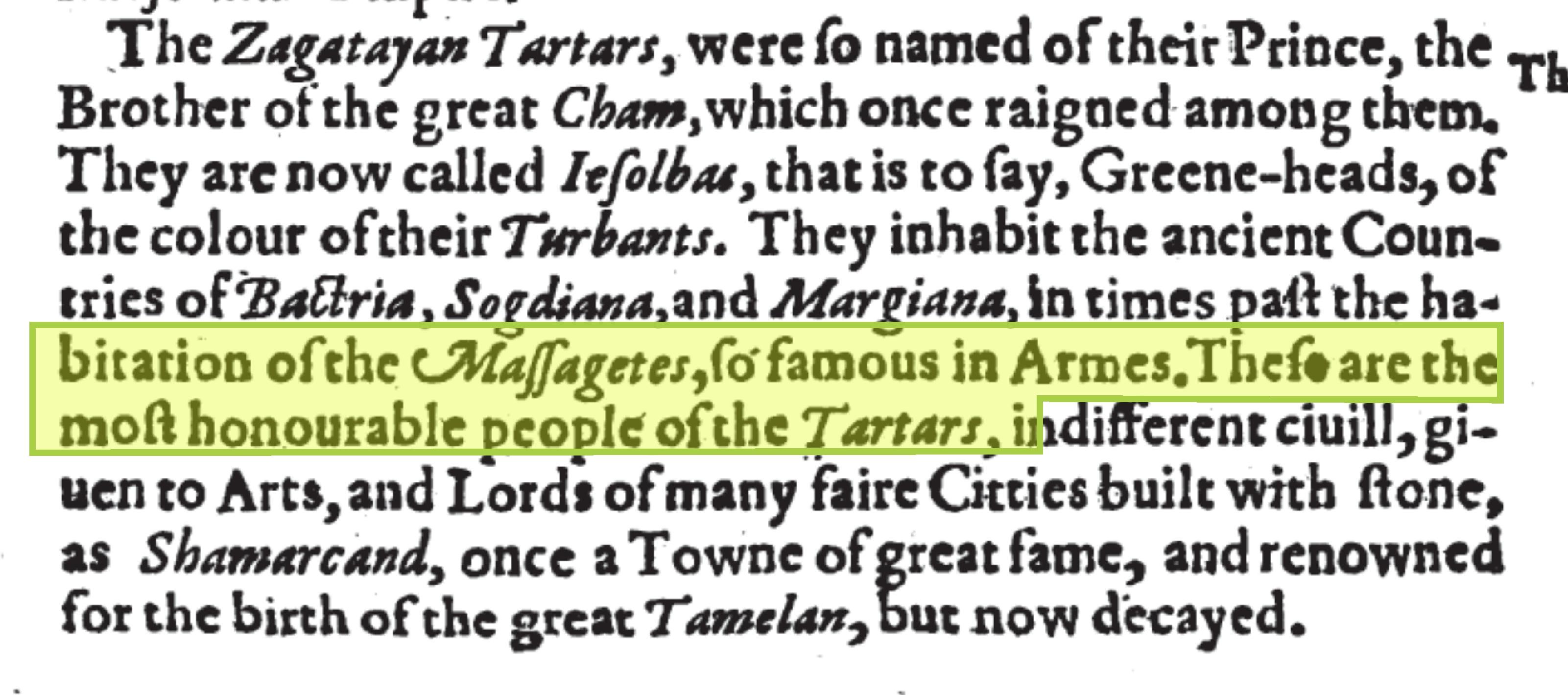 Фрагмент британской книги от 1611 года с описанием тартар.