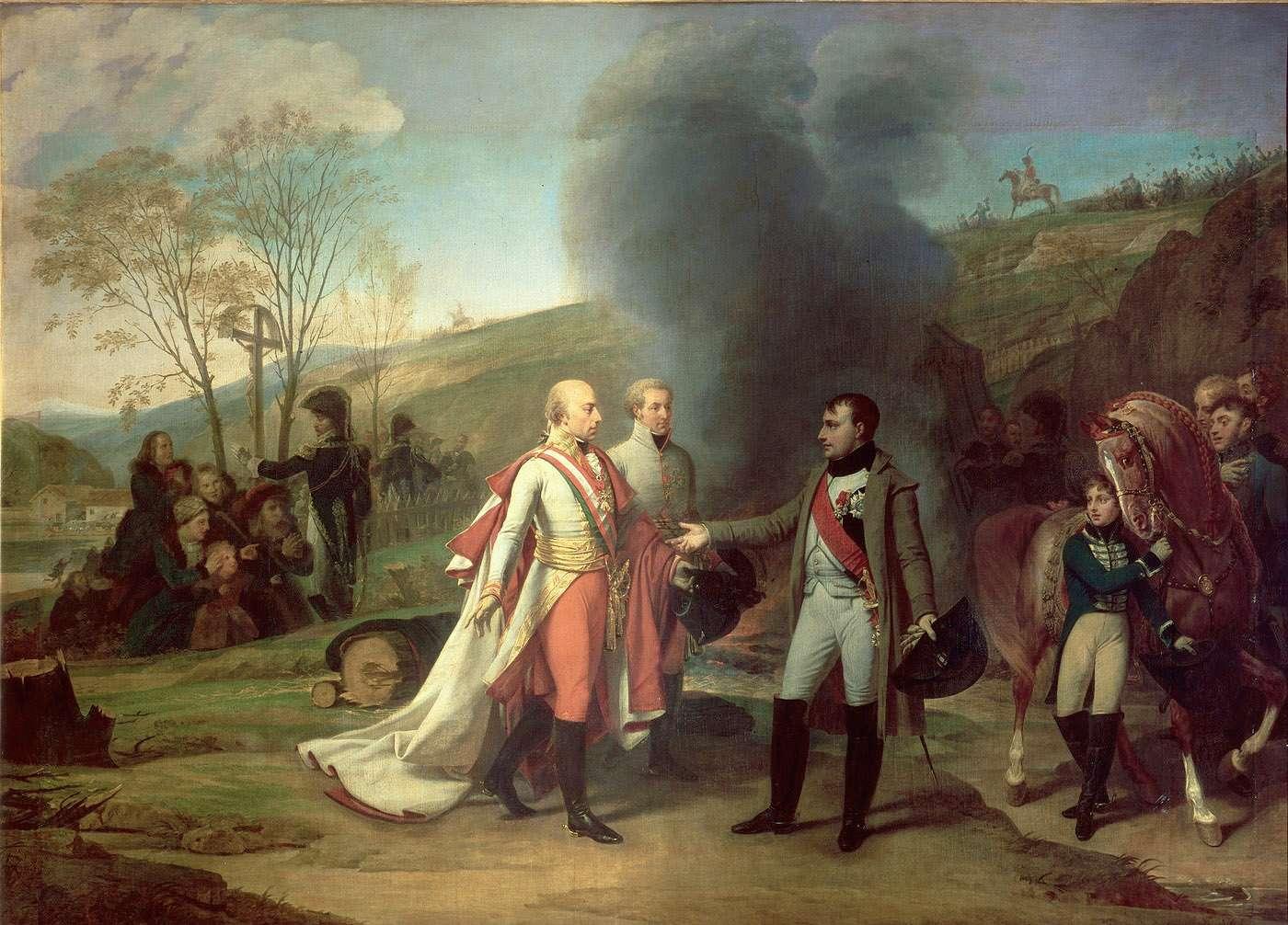 Картина 1812 года с изображением побеждённого австрийского императора Франца 2 и Наполеона после битвы под Аустерлицем в 1805 году. На заднем плане люди с непрывычной внешностью, как для европейцев того времени, просят о пощаде.