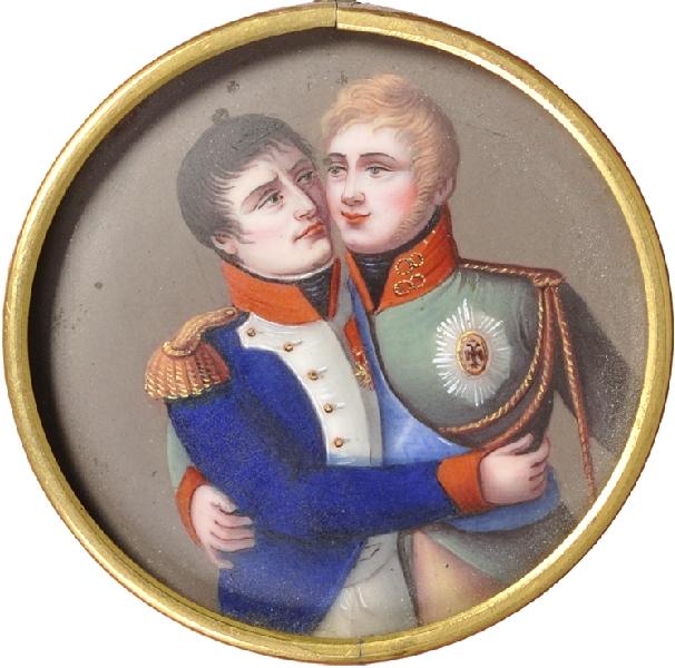 Наполеон и Алесандр после Тильзитского мира.