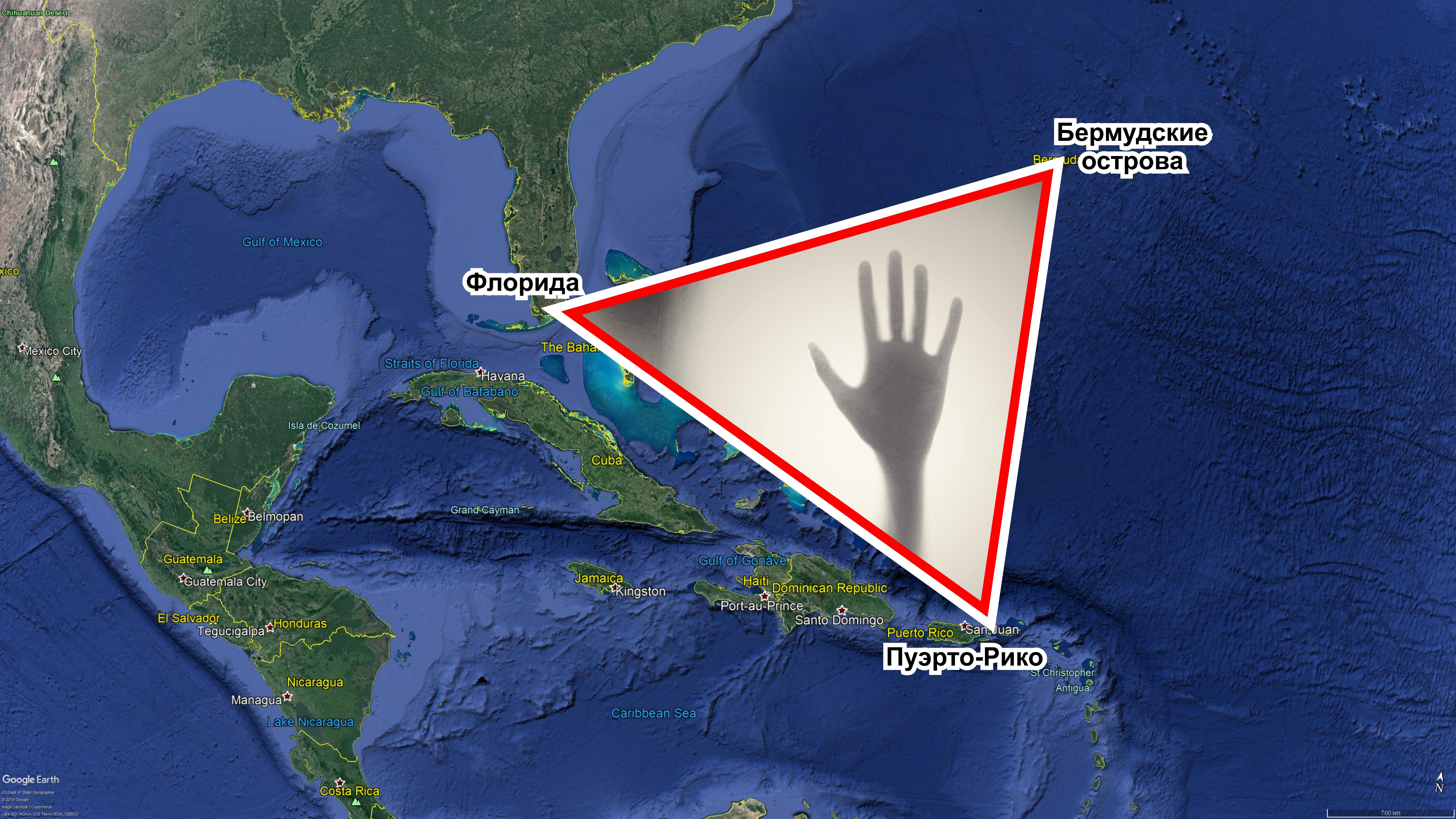 Рисунок 1. Расположение Бермудского треугольника.