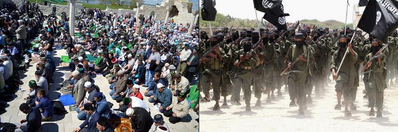 Слева мирные мусульмане, справа ИГИЛ — религиозная террористическая организация.
