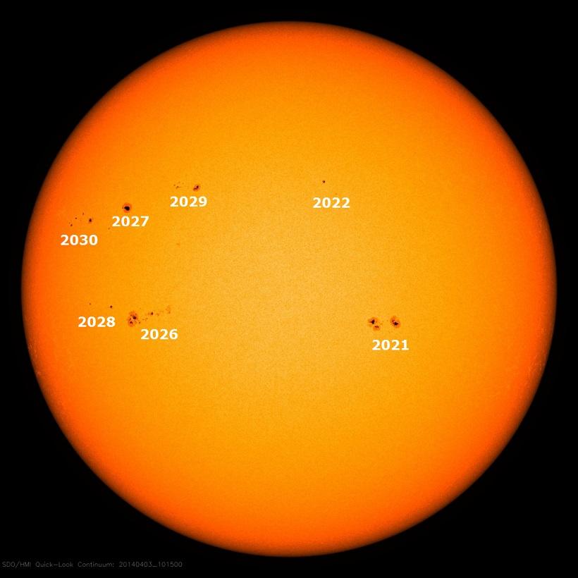Активные области на солнечном диске 3 апреля 2014 г.