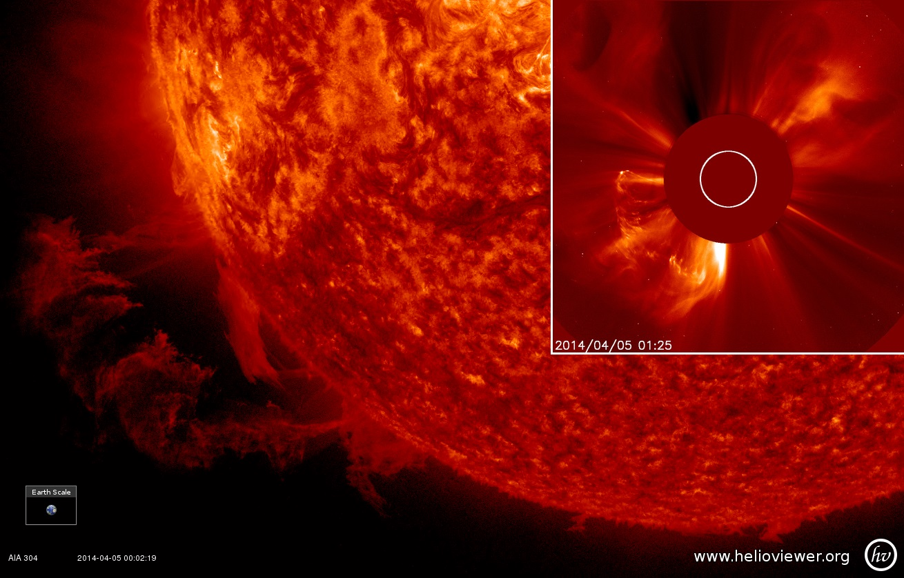 Выброс плазмы на Солнце 5 апреля 2014 г.