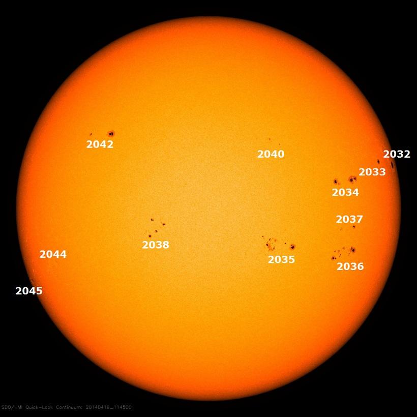 Активные области на солнечном диске 19 апреля 2014 г.