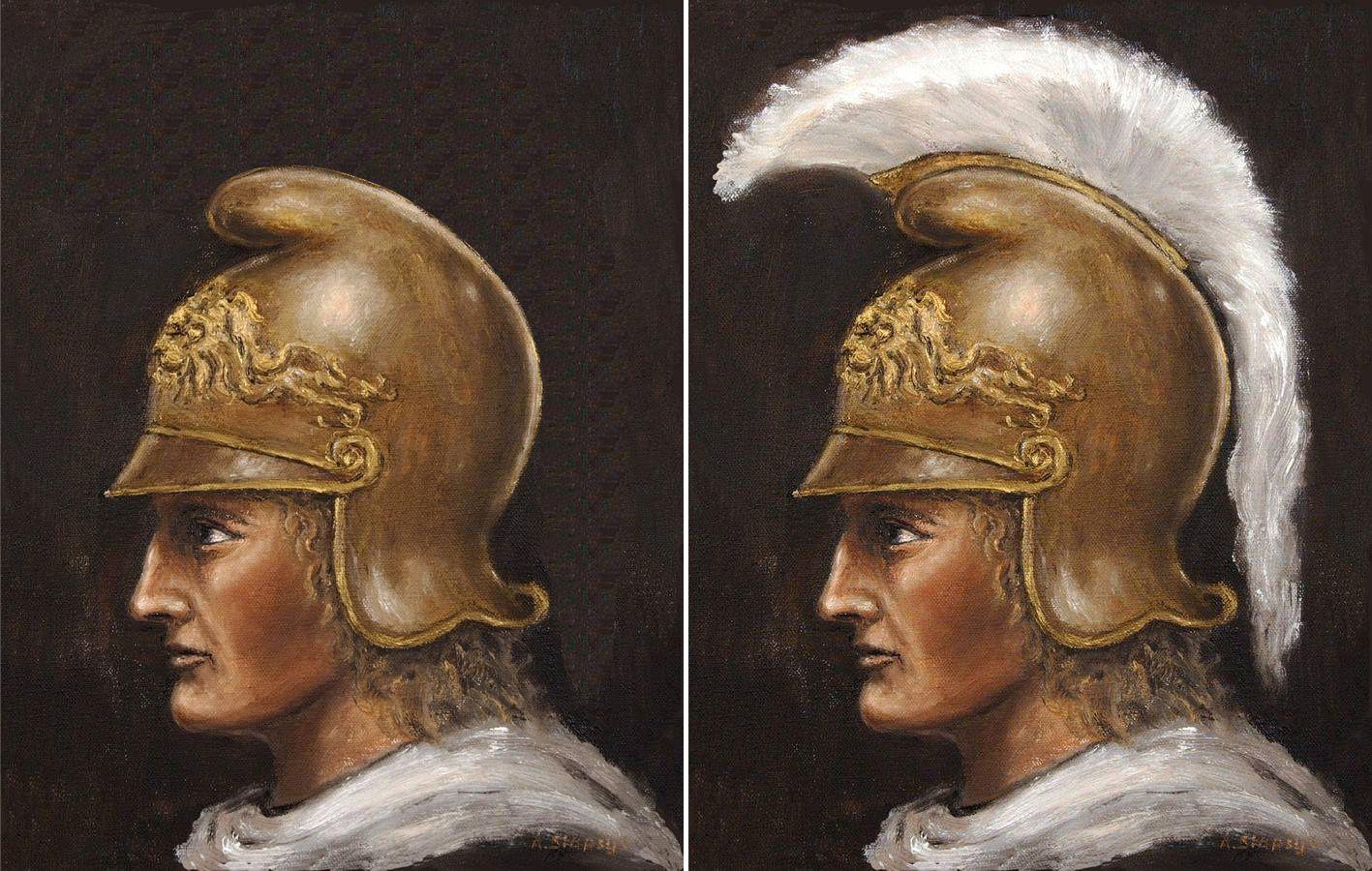 Рисунок 16. Греческий шлем без перьев и с оными на примере изображения Александра Македонского.