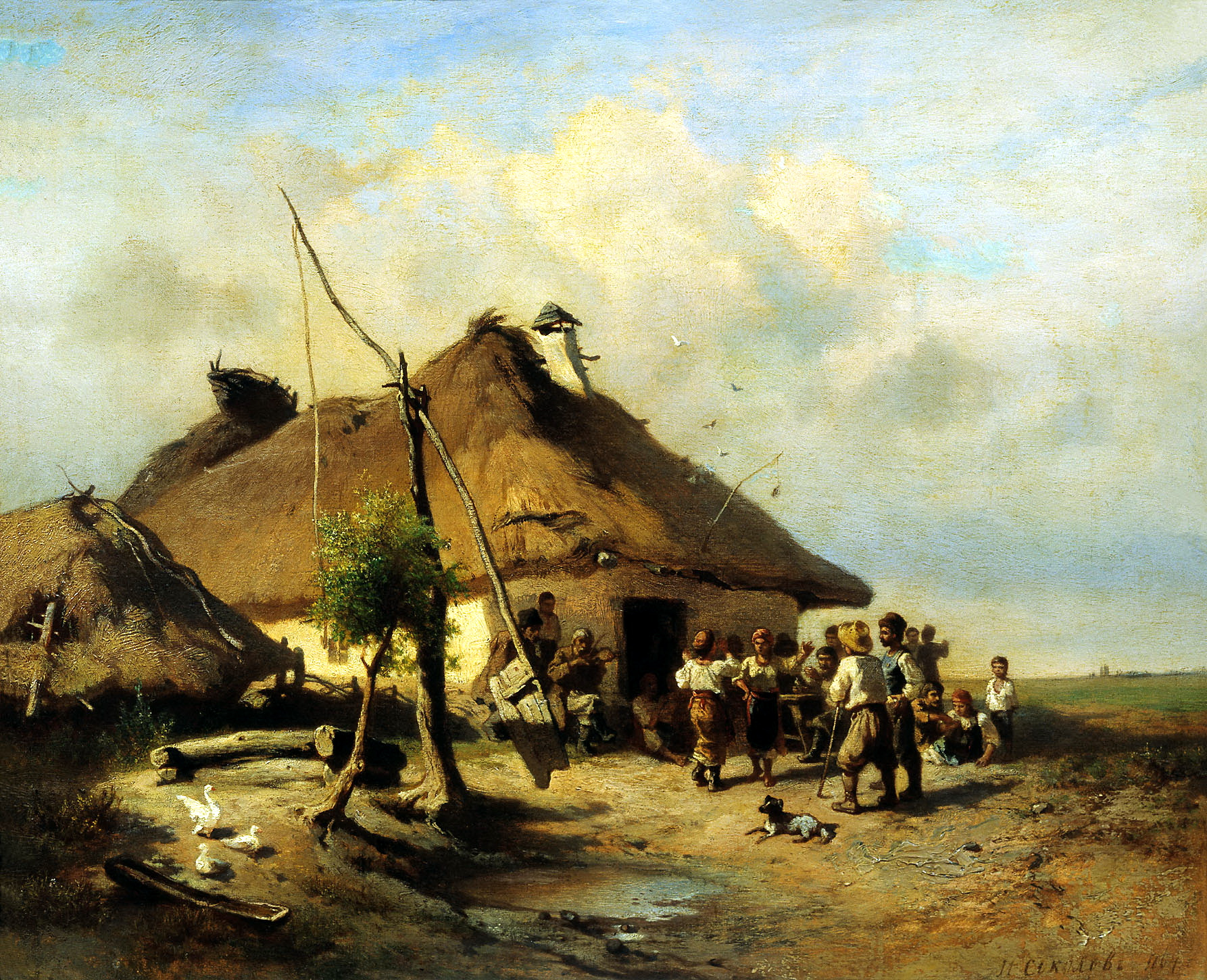 И. И. Соколов «Возле шинка» (1864). Закарпатский художественный музей.