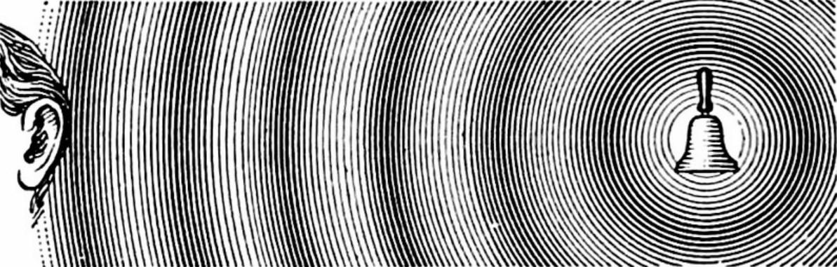 Рис. 1. Визуализация звуковых волн, порождаемых колокольчиком и принимаемых нашими органами слуха.