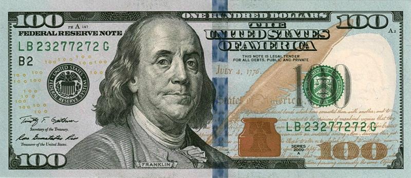 Банкнота 100$ нового образца.