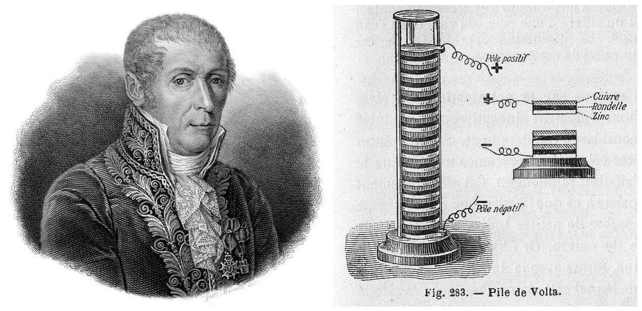 Алессандро Вольта и его первая химическая батарейка, «Вольтов столб».