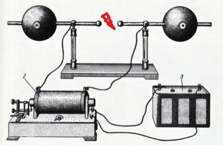 Установка Герца для излучения и изучения радиоволн.