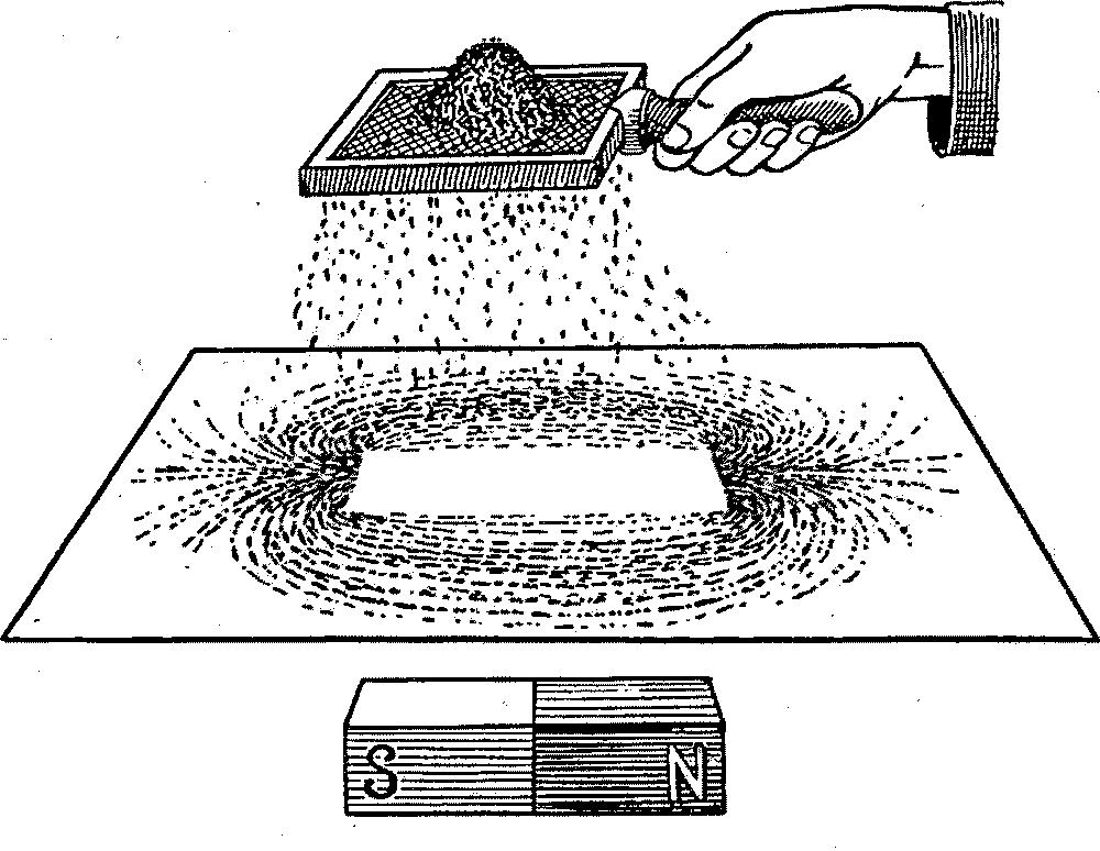 """Рисунок магнитного воздействия, нарисованный железными опилками и названный Фарадеем """"магнитным полем""""."""