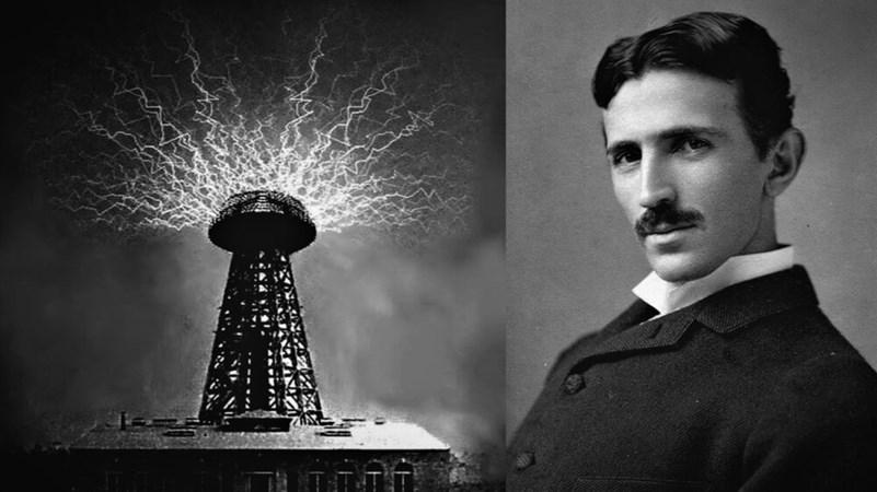 Никола Тесла и его знаменитая установка для передачи энергии на расстояние без проводов.