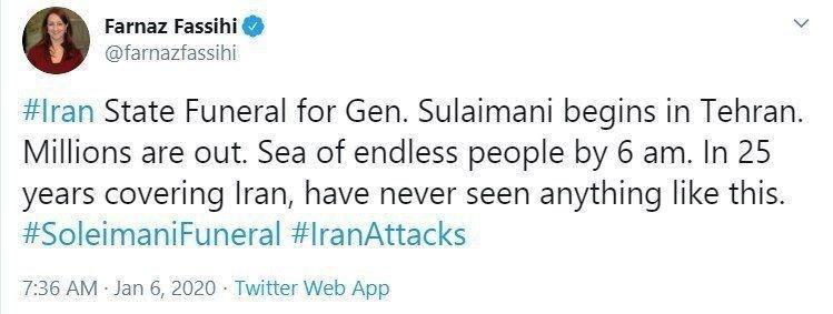 Запад в шоке от похорон генерала Сулеймани: «Бесконечное море людей на улицах» (ФОТО, ВИДЕО) 6