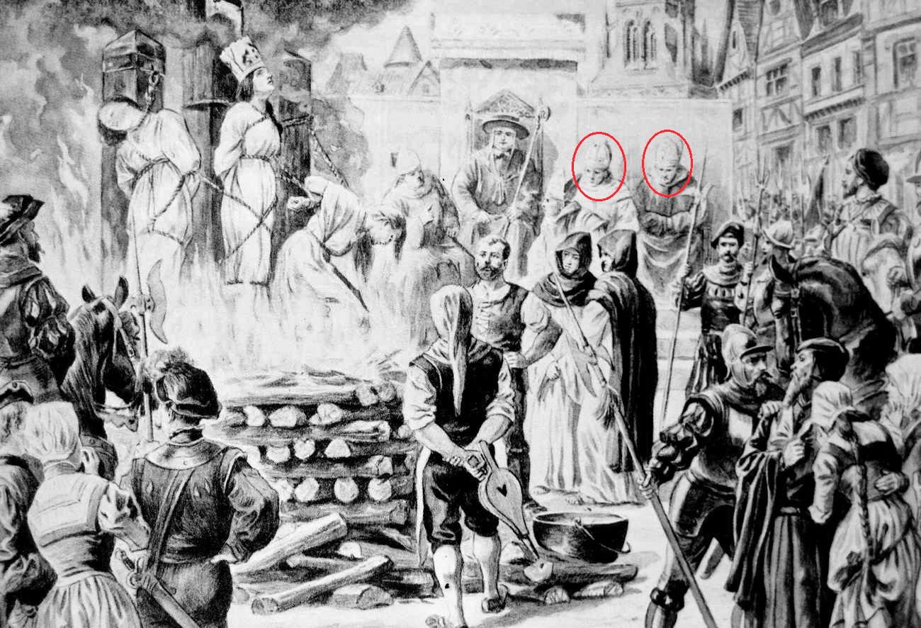 Картина: так называемые священники от имени Христа сжигают живьём инакомыслящих.