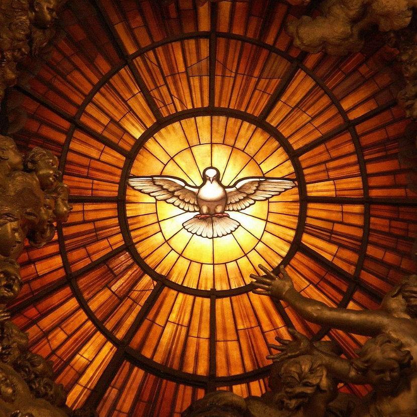 Сошествие Святого Духа в виде голубя в Соборе Святого Петра в Риме.