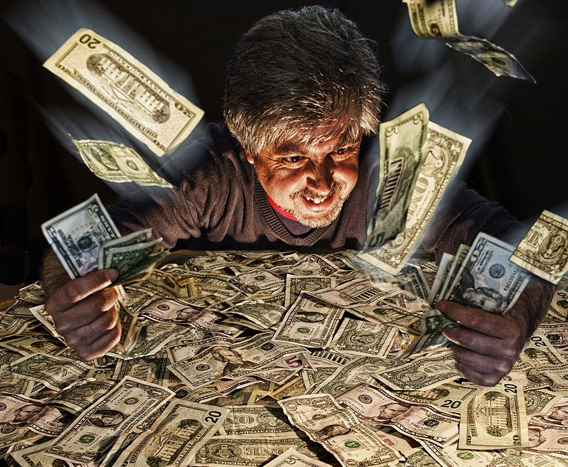 Картинка жадина с деньгами