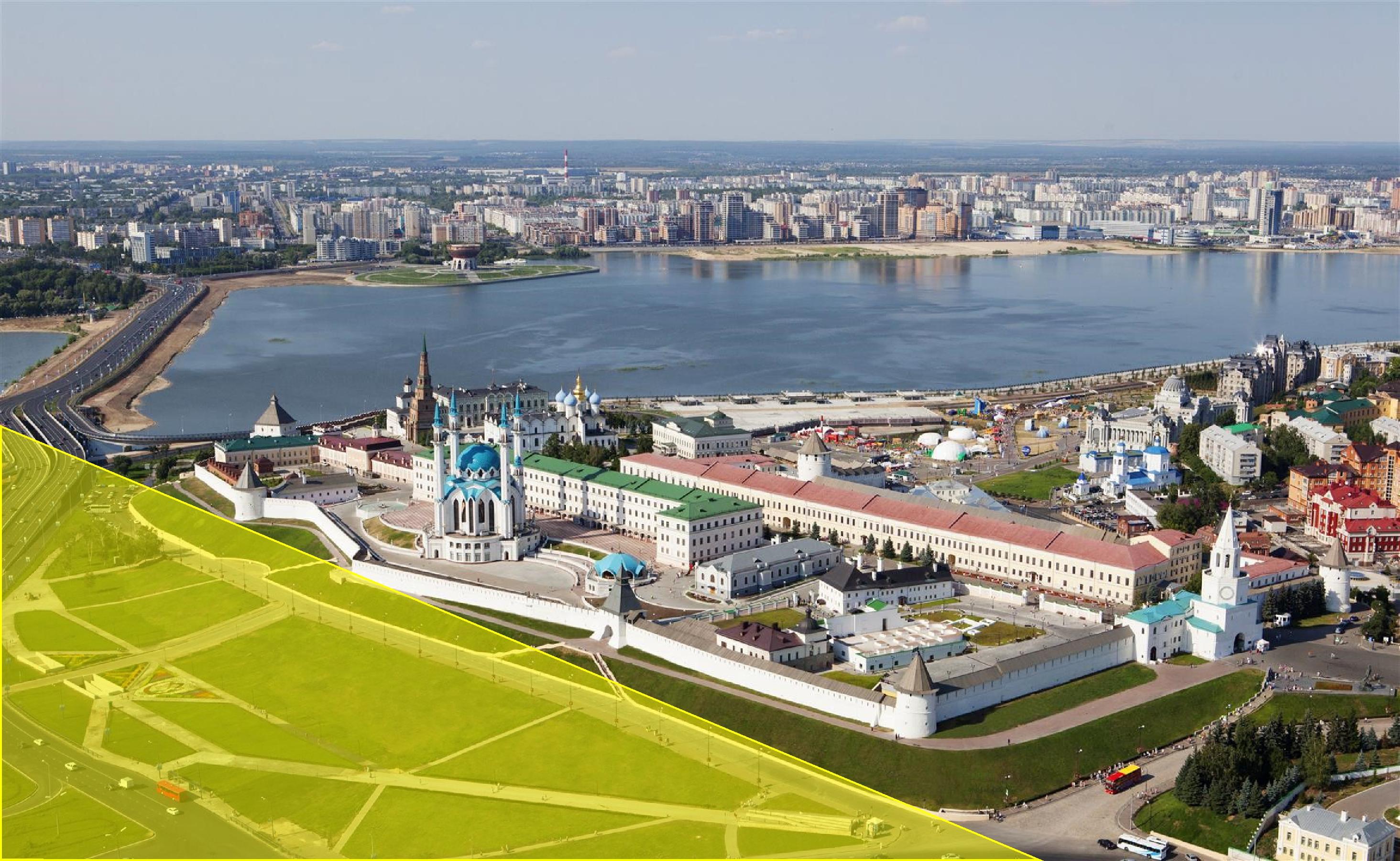 Современное изображение Казанского кремля (жёлтым цветом подсвечена область, где в 1769 году были изображены дома и соборы).