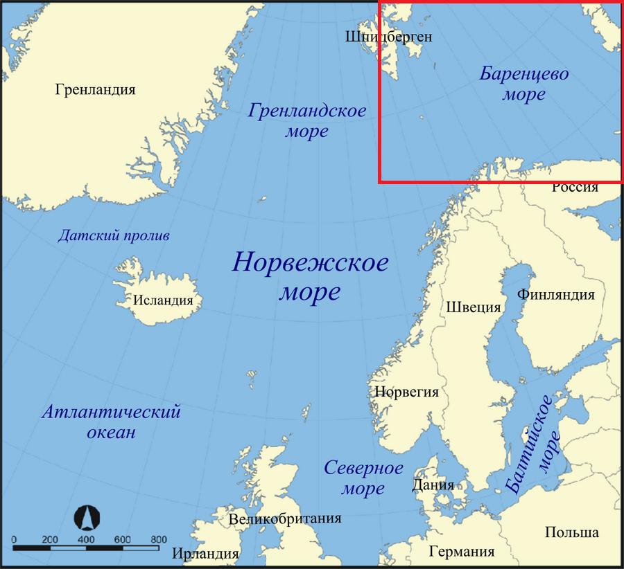 Красным прямоугольником обозначена акватория, уже захваченная расплодившимся камчатским крабом.