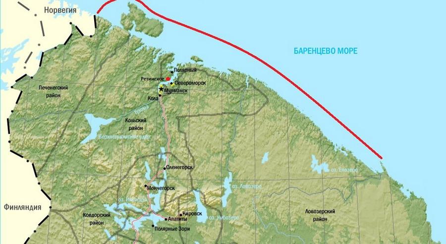 Мурманский берег (под красной линией) на карте Мурманской области.