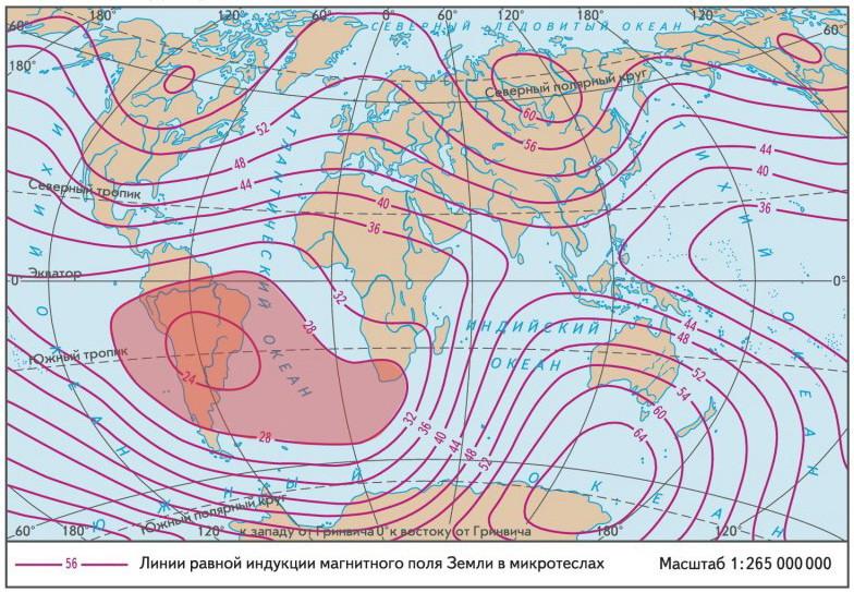 Красным цветом выделена область с наиболее низкой магнитной напряжённостью.