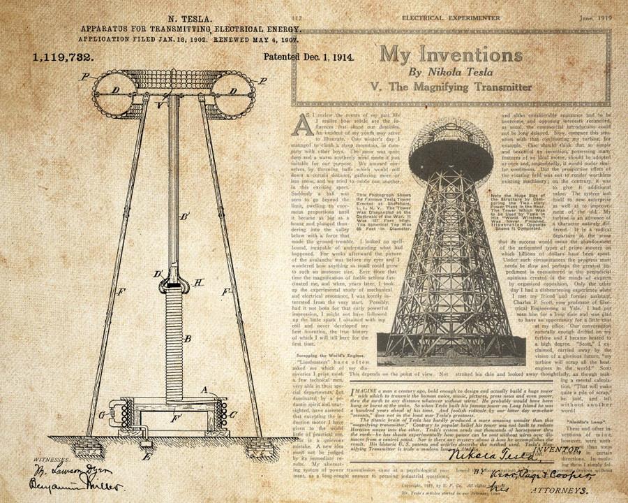 Патент Теслы, полученный им 1 декабря 1914 года на установку по беспроводной передачи энергии.
