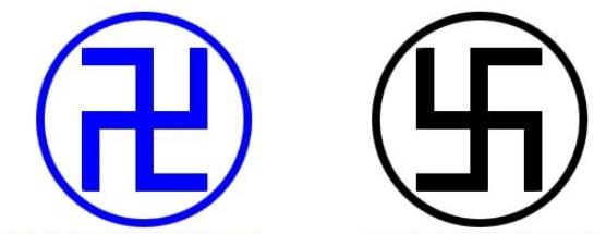 Слева свастика правого вращения, справа - левого вращения.