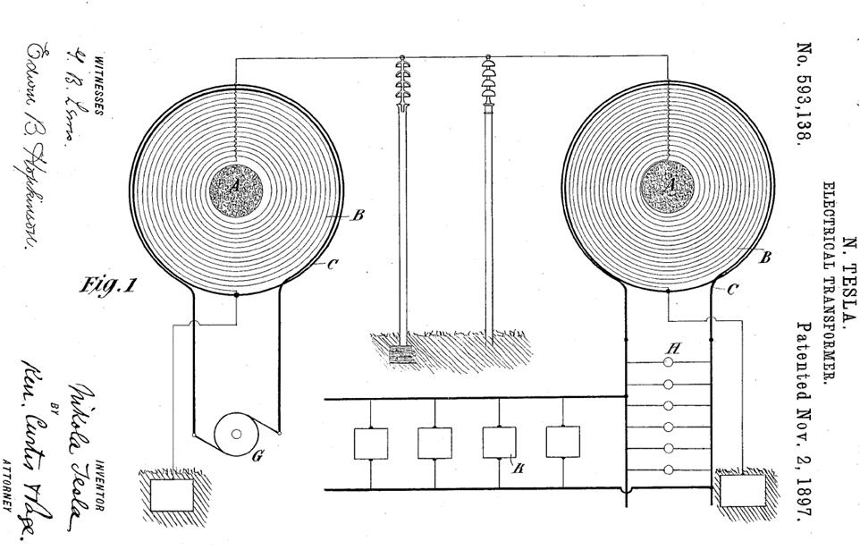 Рис. 1. Патент Н.Тесла на устройство для передачи электроэнергии по одному проводу.