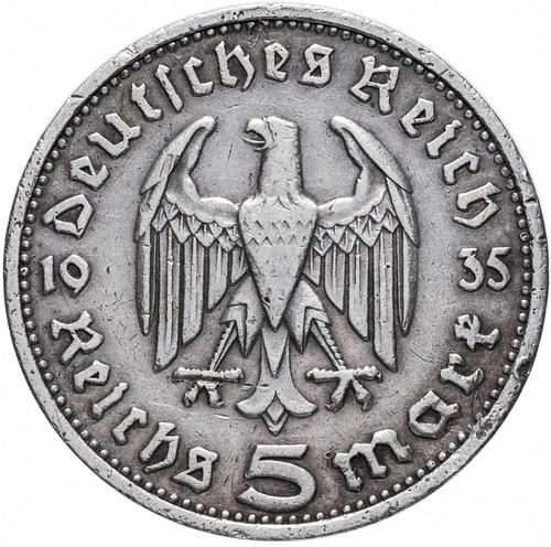 Монета Германии 1935 года. Именно в этот год Гитлер пришёл к власти. Орёл Барбароссы.
