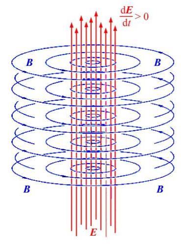 Синим цветом обозначено вихревое магнитное поле, красным цветом — электрическое поле.