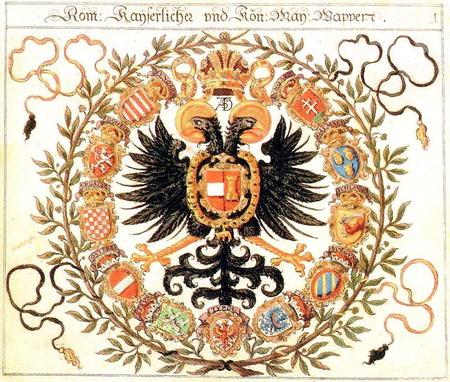 Герб римских императоров рода Габсбургов - двуглавый орёл с поднятыми вверх крыльями - послужил прототипом Герба Российской империи, образованной в 1721 году.