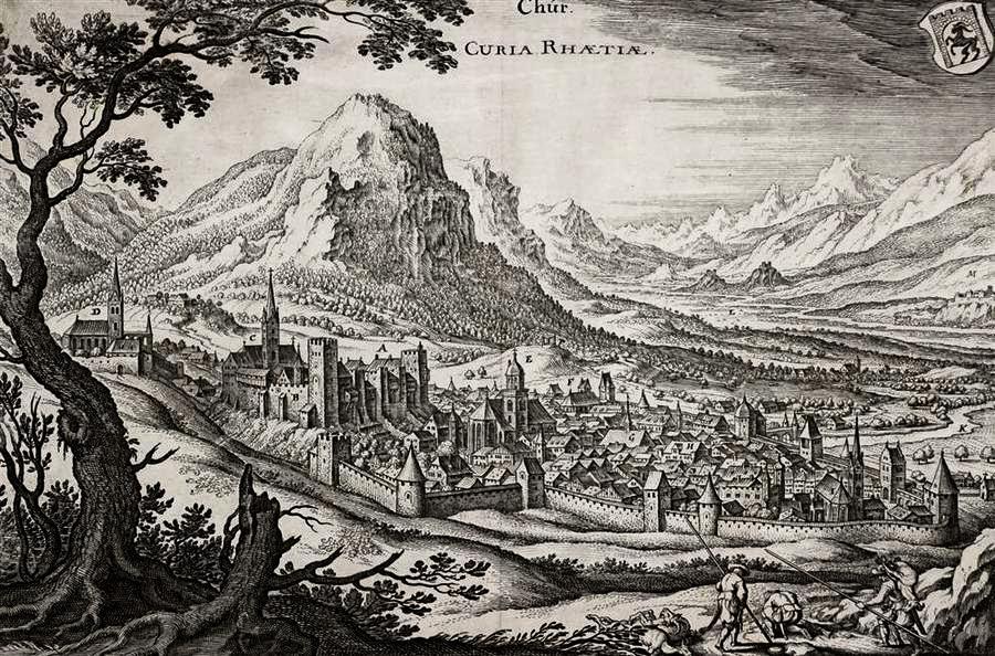CURIA RHAETIA. Historische Ortsansicht. Kupferstich 1654