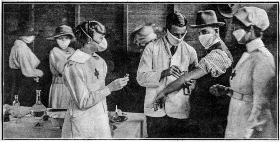 Фотография 1918 года: «Вакцинирование от испанского гриппа».