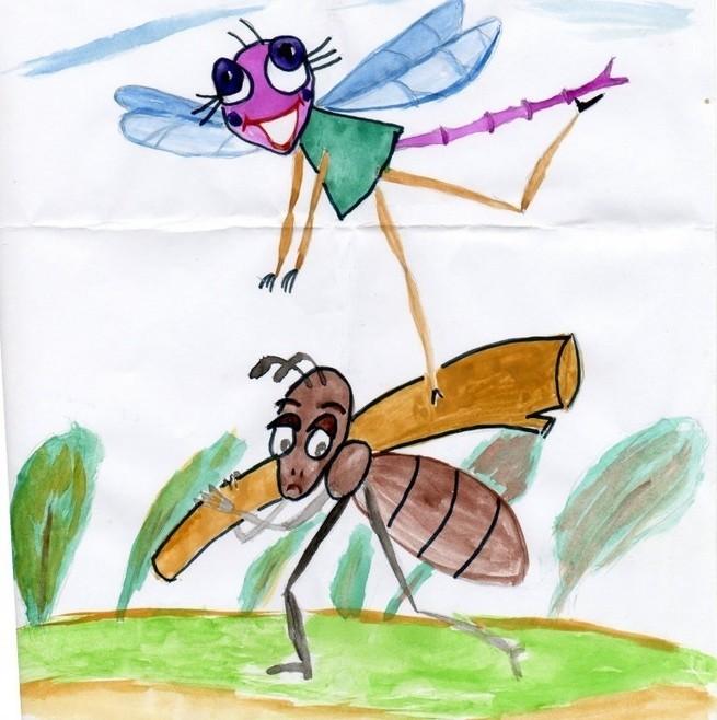 готовым картинка стрекоза и муравей карандашом совсем